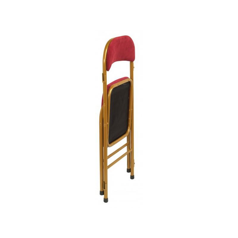 chaise pliante m tal velours rouge. Black Bedroom Furniture Sets. Home Design Ideas